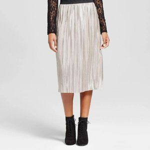 WOMEN'S SILVER & GOLD SKIRT WITH ELASTIC WAISTBAND